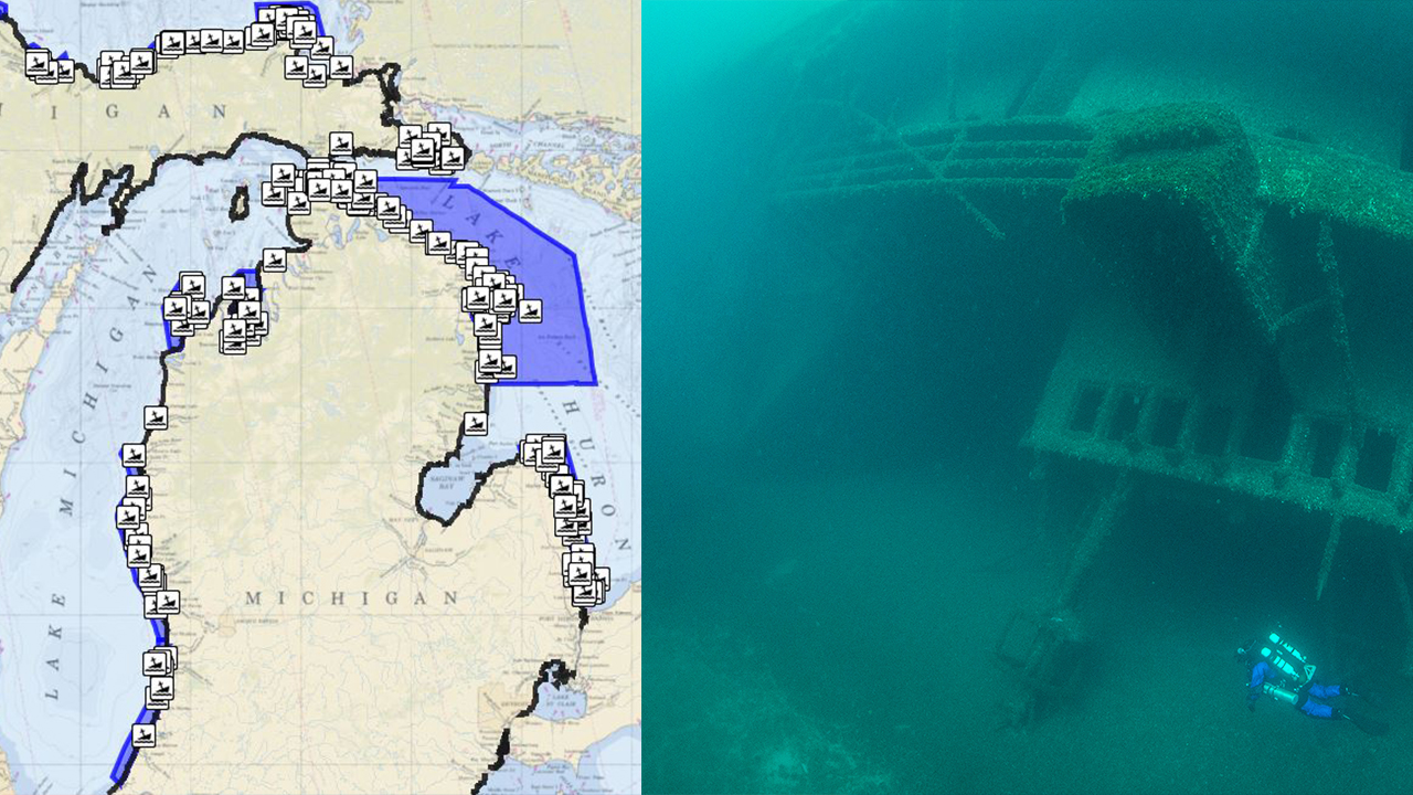 New interactive Great Lakes map reveals shipwrecks around ... on map of the arctic, map of the staten island ferry, map of the new jersey, map of the weather, map of the great lakes ports, map of the hurricane, map of the north carolina,